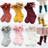 0-3 Years Kids Girls Socks Baby Toddler Knee High Long Bow Cotton Stockings NEW