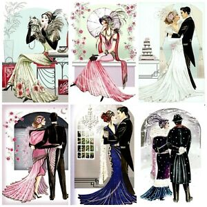 JUST THE TWO OF US ART DECO Card Making Toppers, Card Toppers (12)