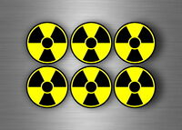 pack of 6x radioactiv radiation biohazard sign decal sticker symbol warning