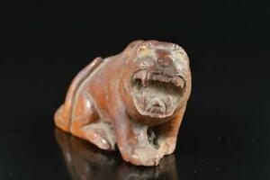 L2530: Japanese Stone jade/jewels Tiger STATUE Figurines Okimono Buddhist art