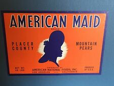 "Antique Fruit Label ""American Maid Mountain Pears"" c1920-30's Los Angeles, Ca."