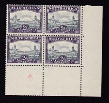 South Africa 1945/47 2d slate & deep lilac SG107a block 4 UM + line variety