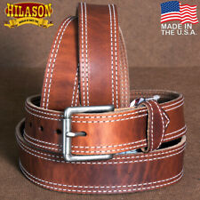 "32"" HILASON HEAVY DUTY MADE IN THE USA GUN HOLSTER LEATHER WORK BELT BROWN U-7-3"