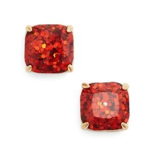 NWT Kate Spade Glitter Square Stud Earrings $38 Garnet Red