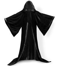 Black -Black Cape Hooded Cloak Wizard Robes Renaissance New STOCK