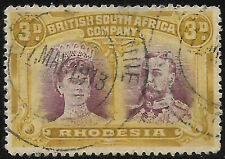 Rhodesia 1910 3d purple & ochre double head perf 14 sg 134 Used