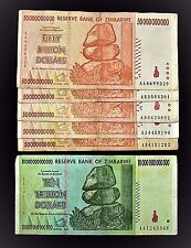 6 Zimbabwe banknotes-1 x 10 Trillion/5 x 50 Billion Dollars-paper money currency