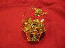 "Poinsettia Basket ~ Christmas Ornament ~ Gold Tone ~ Danbury Mint 1999 ~ 3 1/2"""