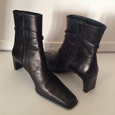 """Salamander France EUR 40 US 10 Black Leather Stacked 2"""" Heel Ankle Boots"""
