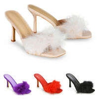Womens Stiletto Heel Sandals Ladies Slip On Mule Square Toe Party Shoes Size 3-8
