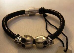 William Rast Braided Black Leather Bracelet W/Double Skulls Stainless Steel NWT