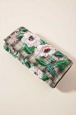 Anthropologie Retro Florals Beaded Clutch Gray Plaid Hand Bag