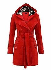BELTED BUTTON COAT NEW LADIES HOODED JACKET PLUS SIZE 22 **50% OFF**