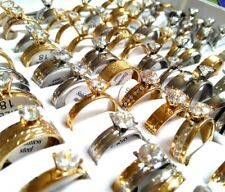 30 Mix lot CZ Crystal Band Rings Party Gift Couples Lovers Rings Stainless Steel