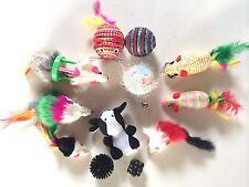 Cat toy mice & balls Fur/Sisal/Feathers/jingle Bell/Rattle/Catnip/Brand New12pcs