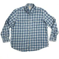 Duluth Trading Mens Size 2XLT Gray Blue Plaid Button Down Long Sleeve Shirt EUC
