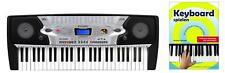 Super Keyboard mit 54 Tasten & Demofunktion, für Anfänger inkl. Notenheft, Black