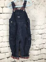 Oshkosh Blue Corduroy Red Flannel Plaid Lined Overalls 24 Months Cuffed Vestbak