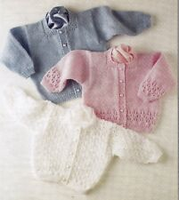 """PREMATURE~BABY~GIRLS~LACY~CARDIGANS~4 PLY~KNITTING PATTERN SIZE 12-26""""  (X 13"""