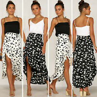 Women's Boho Floral Print Ruffle Skirt Elastic High Waist Beach Loose Long Dress