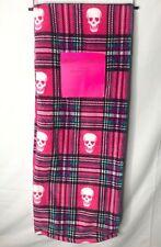 Betsey Johnson Throw Blanket Plaid Hot Pink Punk Skulls Oversized Ultra Soft