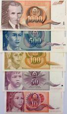 YUGOSLAVIA 1990 10 50 100 500 1000 Dinaris GREAT COLOURFUL UNCIRCULATED NOTE SET