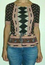Women's Size XS Lucky Brand Red Black Tribal Print Waist Tie Peplum Top Blouse