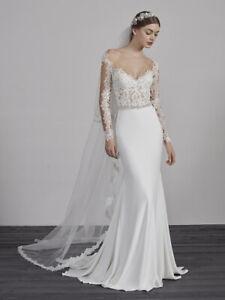 Pronovias ''Emy'' wedding dress with sleeves UK - 12