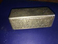 19th century   engraved silver box with gilded interior 9cm long (111 grams wt)