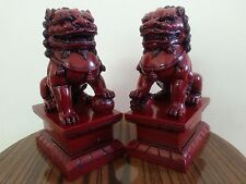 "6""5H Chinese Feng Shui Foo Dogs Statue Lucky Wealth Figurine Gift & Home"