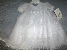 Lida Christening Baptism Gown Flower Girl Baby Dress Easter Wedding White  6 mo