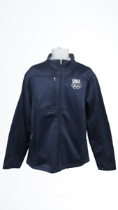 New-Minor-Flaw USA Olympics Mens Size L Large Blue Zip Up Jacket