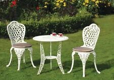 Bistro set in cream with seat pads/ cast aluminium garden set