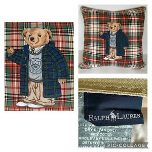 """Ralph Lauren Teddy Bear Plaid Pillow 20""""x20"""" with Goose Feathers & Down Insert"""