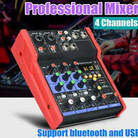 Live Mischpult 4-Kanal + stereo AUX + USB/Bluetooth + Soundkarte Audiomixer