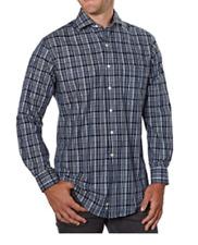 Kirkland Men's Non Iron Stripe Check Shirt ,Color: Navy & Grey & White ,Size:XL