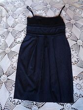 BCBG Black navy blue striped ruffle seersucker pin up 50's wiggle dress S