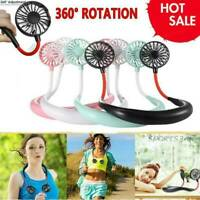 Portable USB Rechargeable Neckband Dual Cooling Mini Fan Hot Neck Lazy G2B1