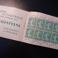 CARNET N°188-C2 TIMBRE LABORATOIRES PHENA SEMEUSE N°188 NEUF ** LUXE MNH
