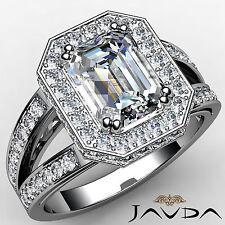 Gorgeous Emerald Diamond Halo Engagement Ring GIA I SI1 14k White Gold 1.84 ct