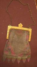 antique art deco handmade Whiting Davis gold mesh ring purse clutch bag colored