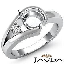 Prong Set Natural Diamond Engagement Ring Platinum 950 Round Semi Mount 0.05Ct