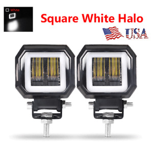 2x LED Work Light White Angel Eye Halo Spot Pods Off-road Motorcycle 4X4 SUV  US