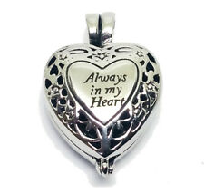 """""""Always in My Heart"""" Memorial Locket Necklace Urn Cremation Jewelry Pendant v2"""
