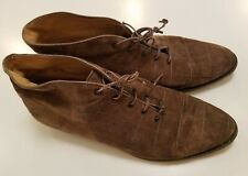 Vintage Salvatore Ferragamo Brown Suede Quilted Lace Up Shoes Womens Size 8