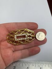 Brooch Pin W/ Rhinestones Signed Monet Gold Tone
