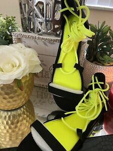 New Women Yellow/ Green Neon/ Black Rouged Gladiator Sandals. Size 10 Flats