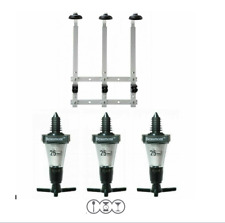 Bar Optics 25ml Spirit Measures x3 and 3 Bottle Wall Bracket Rack for 70cl/1Ltr