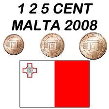 1 + 2 + 5 CENT MALTA 2008 FDC UNC PROVENIENTI DA ROTOLINO