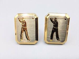 Vintage Silver Goldtone, Golfer Engraved Cufflinks, 26g